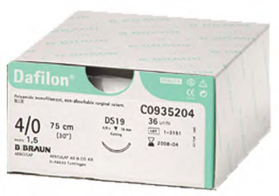 Sutures 4/0 Dafilon 19mm