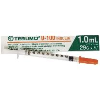 "Terumo Insulin Syringe 1ml with 29g x 1/2"" needle"