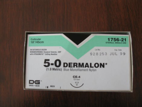 Sutures 5/0 Dermalon 19mm